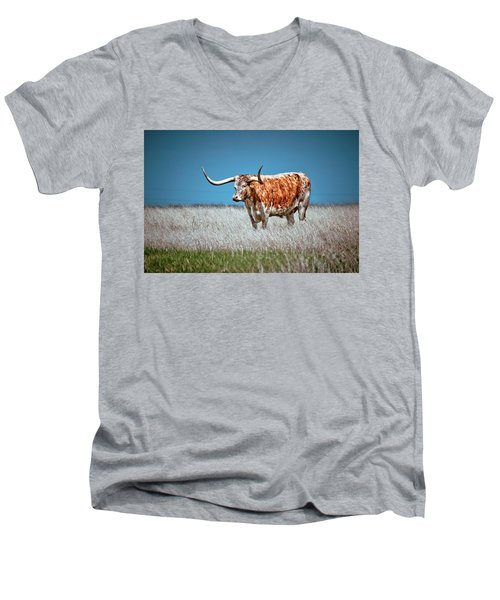 Men's V-Neck T-Shirt featuring the photograph Alone On The Trail by Linda Unger