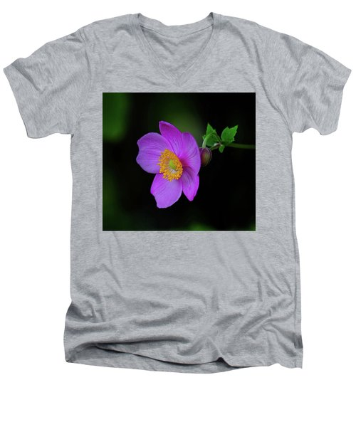 Anenome Purple Men's V-Neck T-Shirt by Ronda Ryan