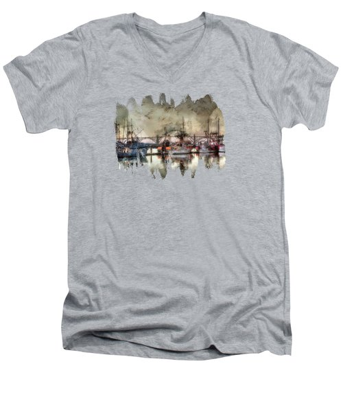 Men's V-Neck T-Shirt featuring the photograph Along The Bay Front by Thom Zehrfeld