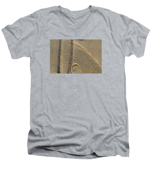 Men's V-Neck T-Shirt featuring the photograph Along The Beach  by Lyle Crump