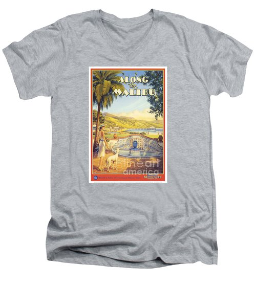 Along The Malibu Men's V-Neck T-Shirt by Nostalgic Prints