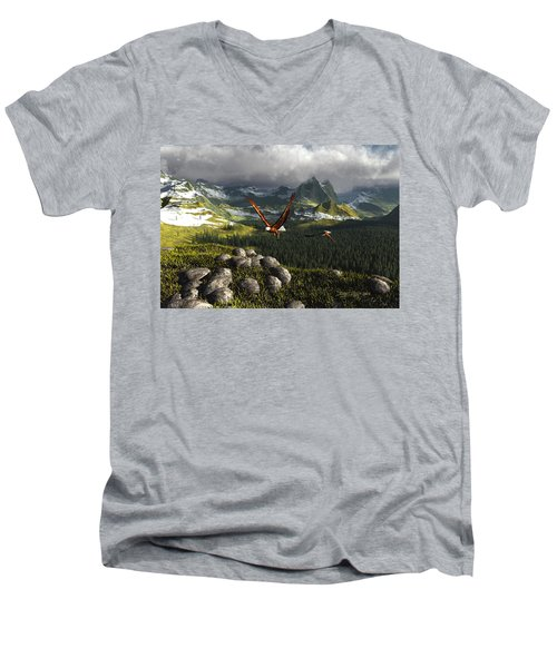 Along The Pinnacles Of Time Men's V-Neck T-Shirt