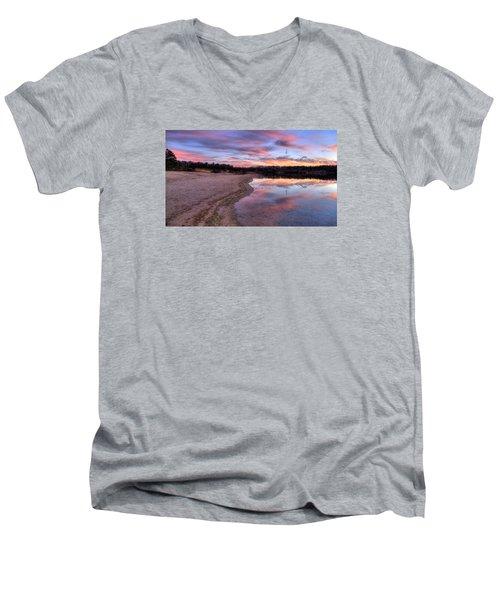Along The Shoreline Men's V-Neck T-Shirt by John Loreaux