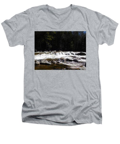 Along The Swift River Men's V-Neck T-Shirt by Catherine Gagne