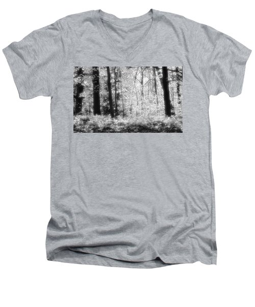 Along The Top Bw  Men's V-Neck T-Shirt by Lyle Crump