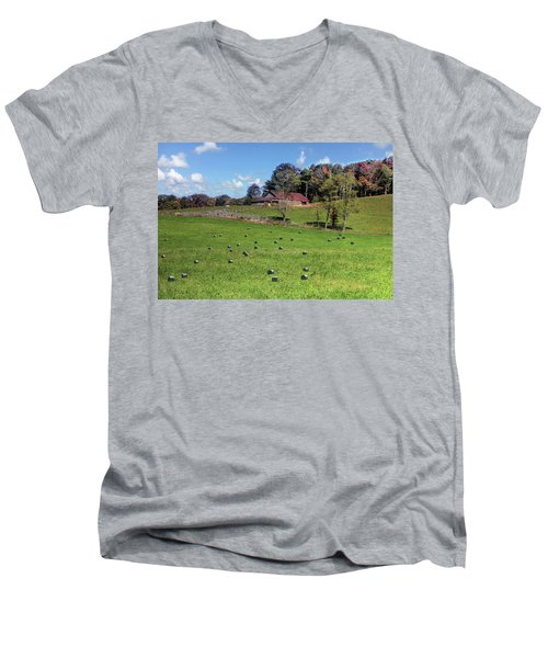 Men's V-Neck T-Shirt featuring the digital art Along The Tracks by Sharon Batdorf