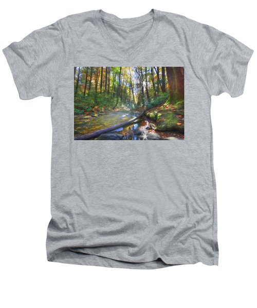 Along The Trail In Georgia Men's V-Neck T-Shirt by Sharon Batdorf