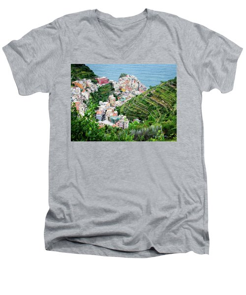 Along The Via Del Amore Men's V-Neck T-Shirt by William Beuther