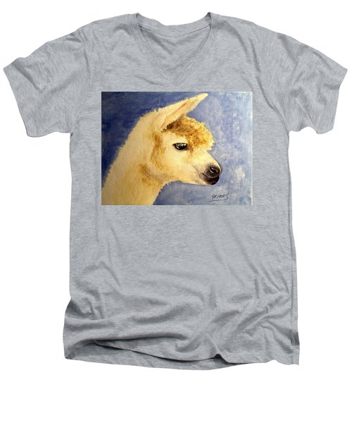 Men's V-Neck T-Shirt featuring the painting Alpaca Baby by Carol Grimes