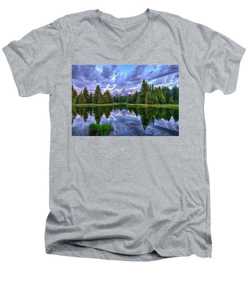 Alpenglow In The Tetons Men's V-Neck T-Shirt