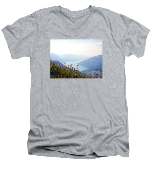 Alpine Flora On Top Of Schynige Platte Men's V-Neck T-Shirt by Ernst Dittmar