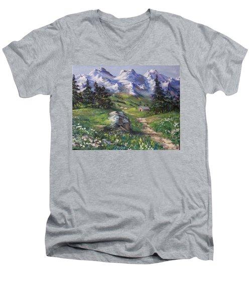 Alpine Splendor Men's V-Neck T-Shirt by Megan Walsh