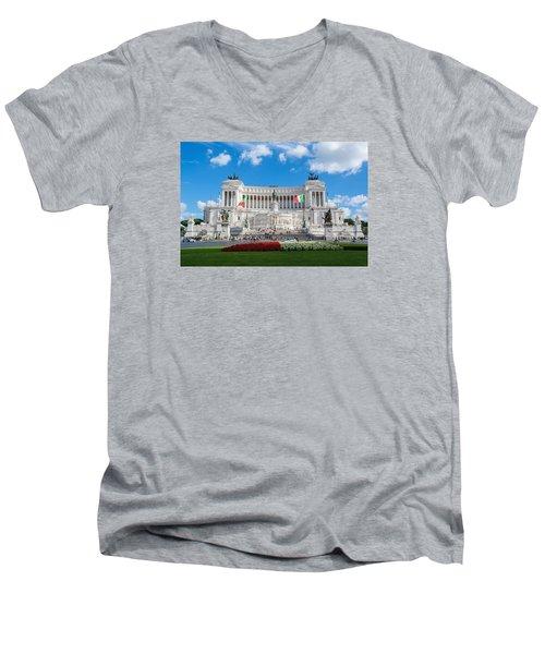 Altare Della Patria-3344 Men's V-Neck T-Shirt by Alex Ursache
