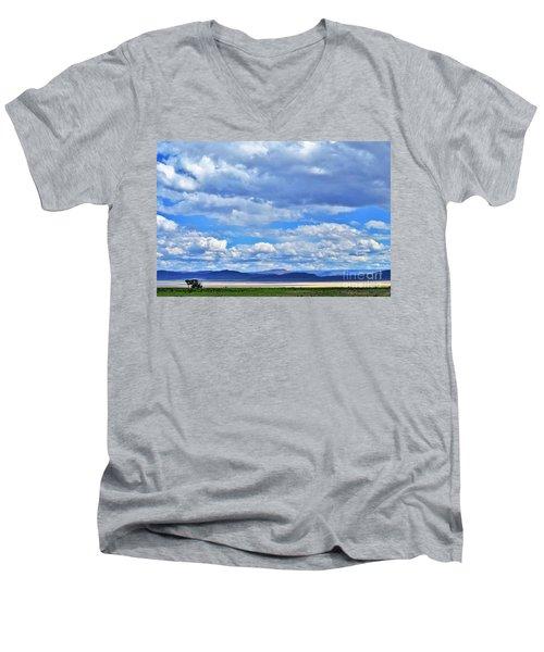 Sky Over Alvord Playa Men's V-Neck T-Shirt by Michele Penner