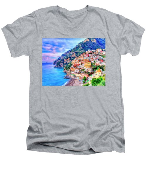 Amalfi Coast At Positano Men's V-Neck T-Shirt by Dominic Piperata