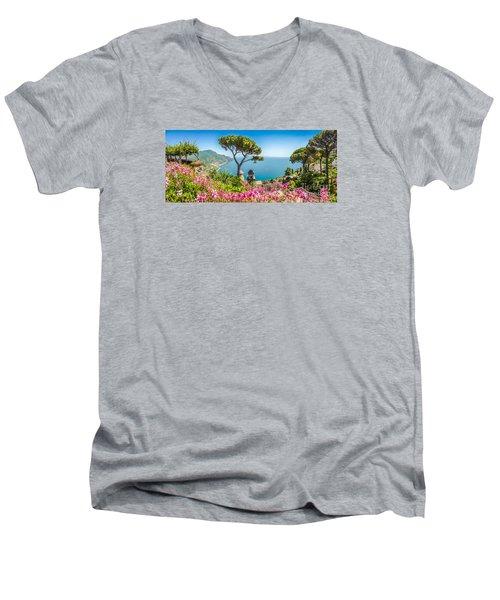 Amalfi Coast From Villa Rufolo Gardens In Ravello, Campania, Ita Men's V-Neck T-Shirt