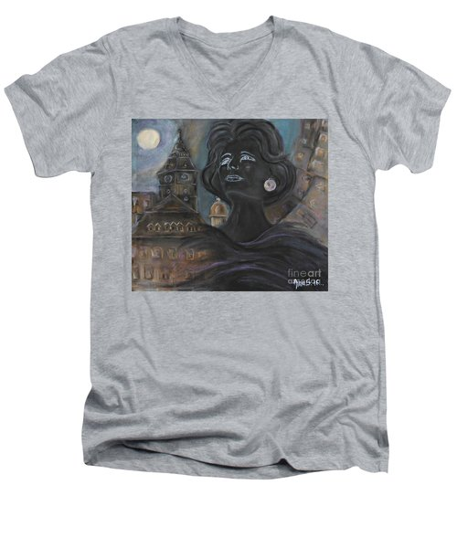 Men's V-Neck T-Shirt featuring the painting Amalia Rodrigues Tribute by AmaS Art