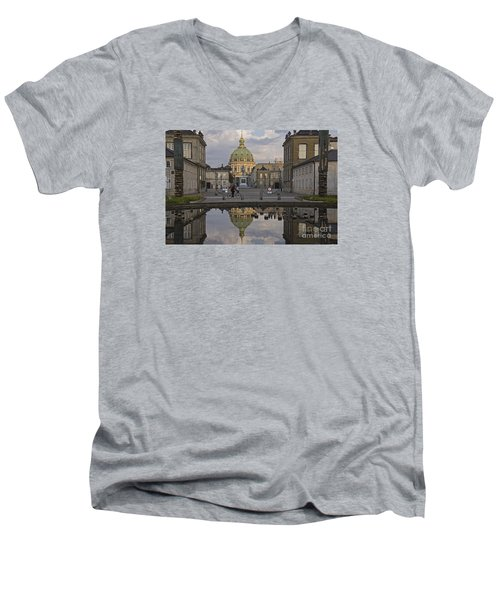 Men's V-Neck T-Shirt featuring the photograph Amalienborg Castle And The Marble Church by Inge Riis McDonald