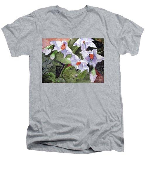 Amanda's Blue Potato Flowers Men's V-Neck T-Shirt by Sandy McIntire