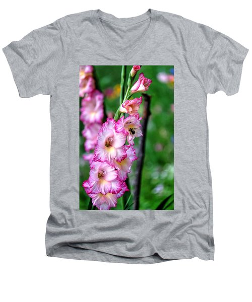 Amaryllis Men's V-Neck T-Shirt by Ronda Ryan