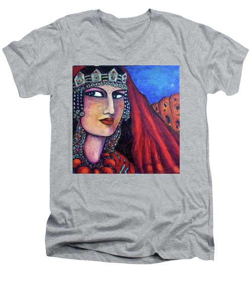 Men's V-Neck T-Shirt featuring the painting Amazigh Beauty 1 by Rae Chichilnitsky