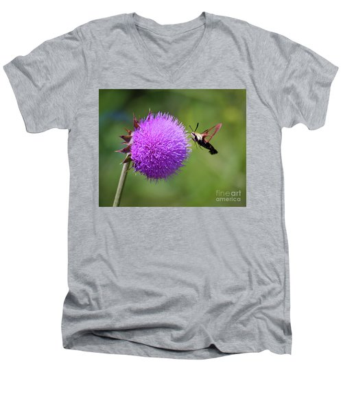 Men's V-Neck T-Shirt featuring the photograph Amazing Insects - Hummingbird Moth by Kerri Farley