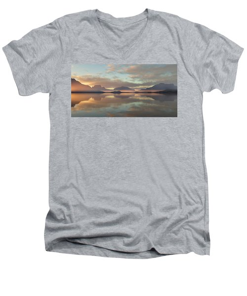 Men's V-Neck T-Shirt featuring the digital art Salmon Lake Sunrise by Mark Greenberg