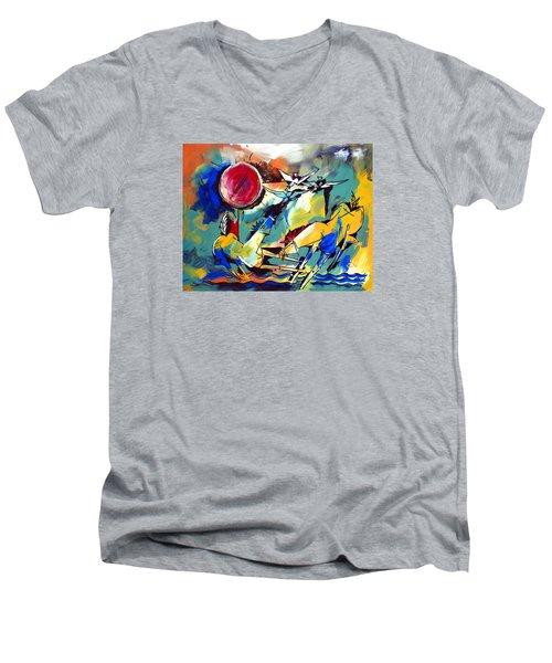 Ameeba 35-horses By The Sea Men's V-Neck T-Shirt