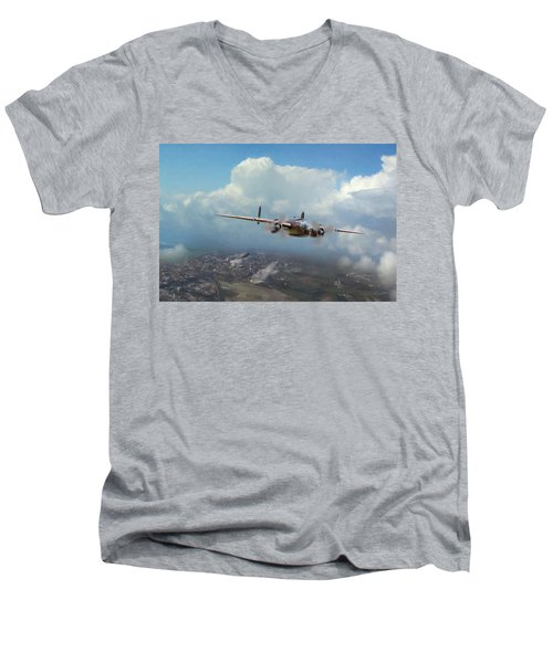 Men's V-Neck T-Shirt featuring the digital art America Strikes Back by Peter Chilelli