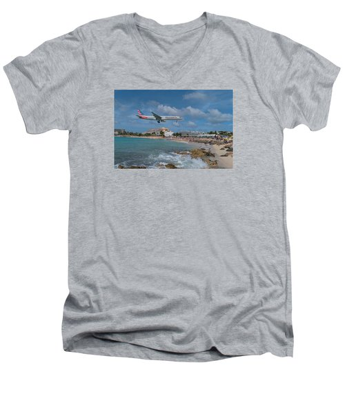 American Airlines Landing At St. Maarten Airport Men's V-Neck T-Shirt by David Gleeson
