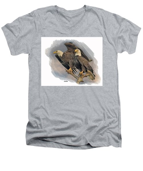 American Bald Eagle Pair Men's V-Neck T-Shirt