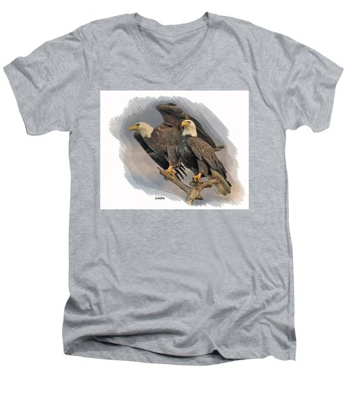 American Bald Eagle Pair Men's V-Neck T-Shirt