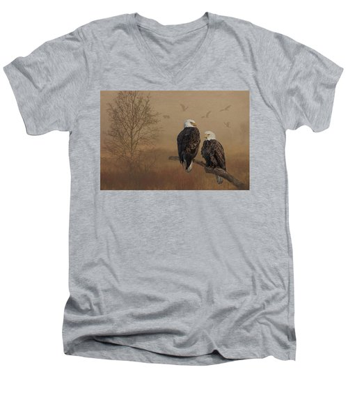 American Bald Eagle Family Men's V-Neck T-Shirt