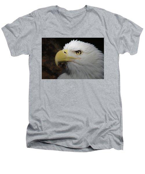 Men's V-Neck T-Shirt featuring the digital art American Bald Eagle Portrait 2 by Ernie Echols
