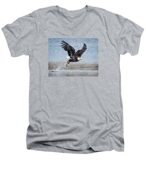 American Bald Eagle Taking Off Men's V-Neck T-Shirt by Ricky L Jones