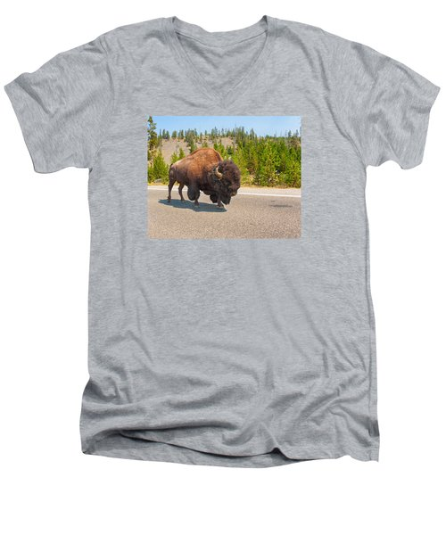 Men's V-Neck T-Shirt featuring the photograph American Bison Sharing The Road In Yellowstone by John M Bailey