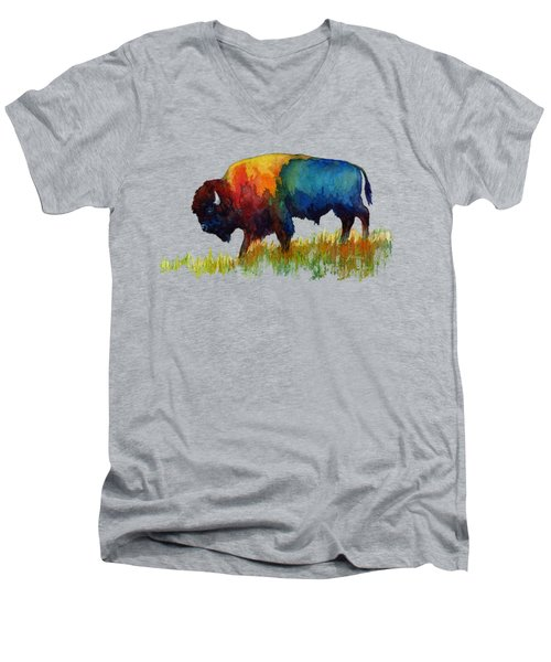 American Buffalo IIi Men's V-Neck T-Shirt by Hailey E Herrera