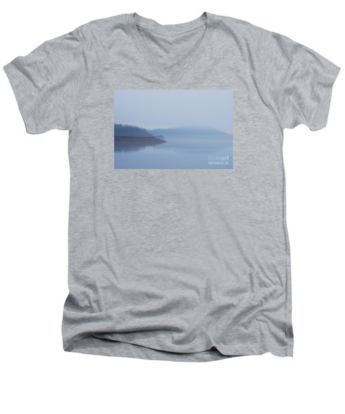 Men's V-Neck T-Shirt featuring the photograph American Coot In Misty Fog 20120316_40a by Tina Hopkins