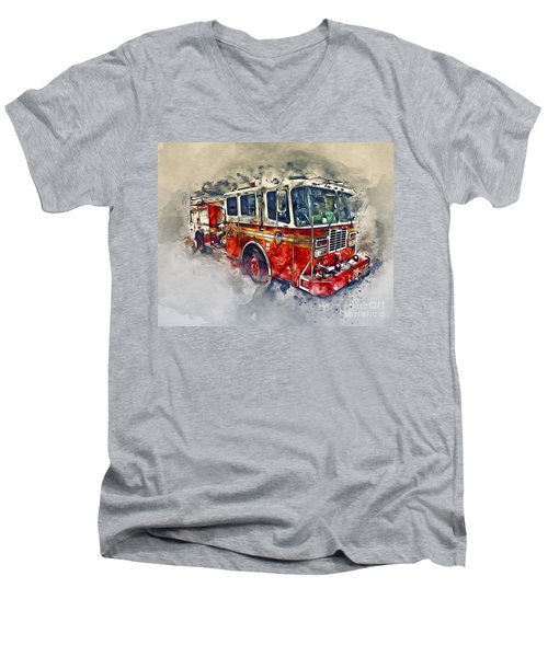 American Fire Truck Men's V-Neck T-Shirt