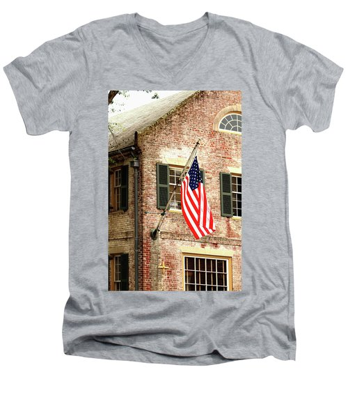 American Flag In Colonial Williamsburg Men's V-Neck T-Shirt by Emanuel Tanjala