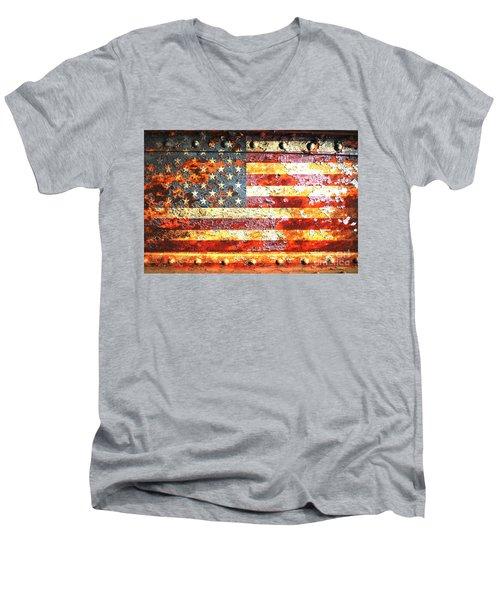 American Flag On Rusted Riveted Metal Door Men's V-Neck T-Shirt by M L C