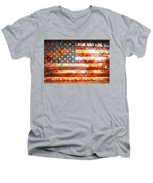 American Flag On Rusted Riveted Metal Door Men's V-Neck T-Shirt