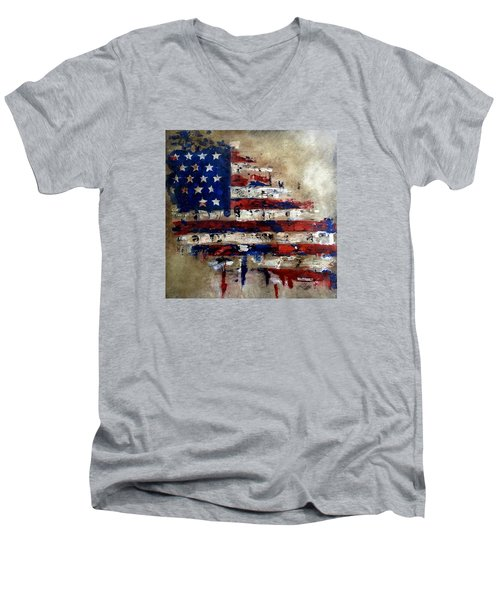 American Flag Men's V-Neck T-Shirt by Tom Fedro - Fidostudio