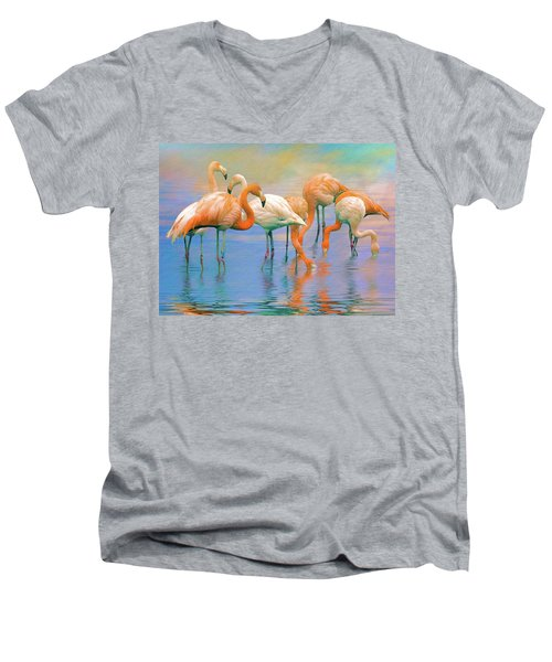 American Flamingos Men's V-Neck T-Shirt by Brian Tarr