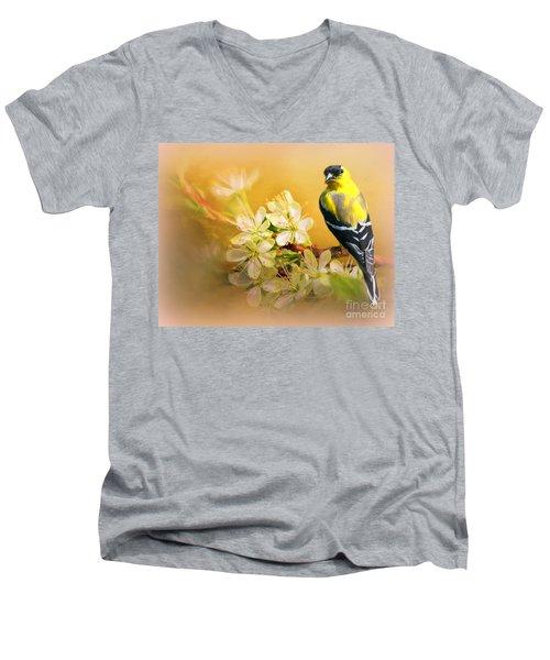 American Goldfinch In The Flowers Men's V-Neck T-Shirt by Myrna Bradshaw