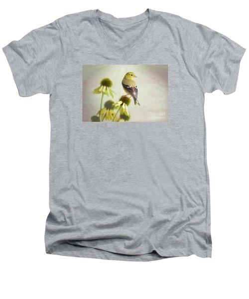 American Goldfinch On Coneflower Men's V-Neck T-Shirt