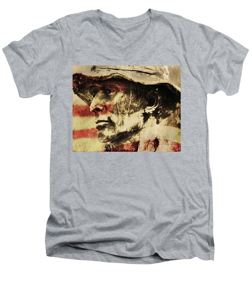 American Patriot Men's V-Neck T-Shirt by Kathleen K Parker