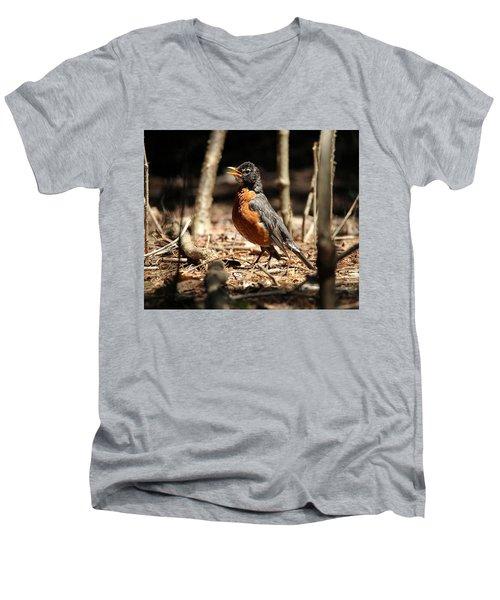 American Robin New York Men's V-Neck T-Shirt by Bob Savage