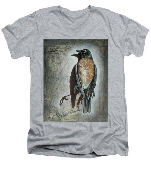 American Robin Men's V-Neck T-Shirt by Sheri Howe