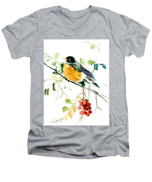 American Robin Men's V-Neck T-Shirt by Suren Nersisyan